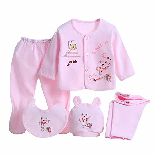 (Babywow 5PCS Newborn 0-3M Boys Girls Baby Cotton Clothes Tops Hat Pants Sleepwear Suit Outfit)