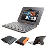 GreatShield LEAN Series Ultra Slim Leather Case with Keyboard and Stand for Amazon Kindle Fire HD 7″ Inch Tablet (Black / Orange), Best Gadgets