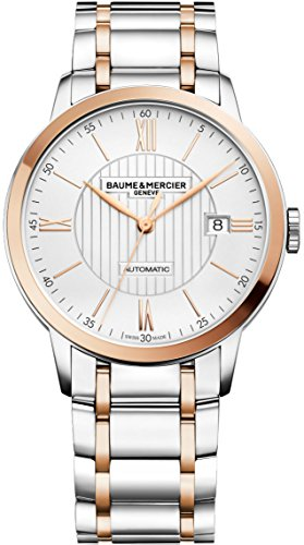 Baume & Mercier Classima Mens Automatic Watch - 40mm Analog Silver Face with Second Hand, Date and Sapphire Crystal Two Tone Swiss Made Watch - Stainless Steel Plated Rose Gold - Mercier Crystal Bracelet Et Baume