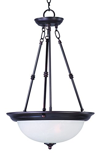 Rubbed Bronze Bowl Pendant (Maxim 5845ICOI Essentials 3-Light Invert Bowl Pendant, Oil Rubbed Bronze Finish, Ice Glass, MB Incandescent Incandescent Bulb , 60W Max., Dry Safety Rating, Standard Dimmable, Metal Shade Material, Rated Lumens)