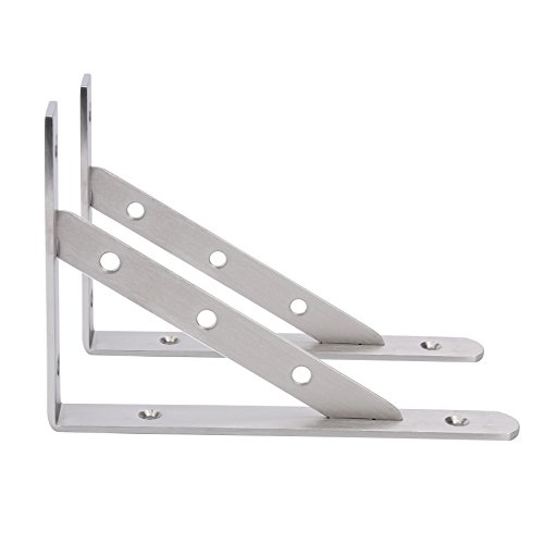Amarine-made Pair Stainless Steel Solid Shelf Brackets,8,10,12, Shelf Support Corner Brace Joint Right Angle Bracket (8X5-1/2)