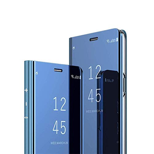 Samsung Galaxy J2 Prime Case Cover EMAXELER Stylish Mirror Plating Flip Full Body Protective Reflection Ultra Thin Hard Anti-Scratch Shockproof Frame for Samsung J2 Prime / G532M Mirror:Blue ()
