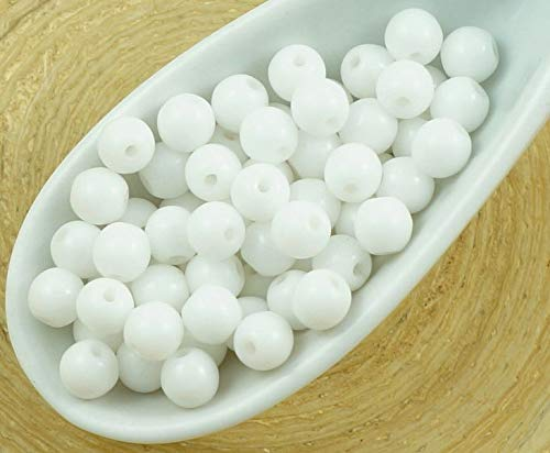 100pcs Opaque Chalk White Round Druk Spacer Seed Czech Glass Beads 4mm