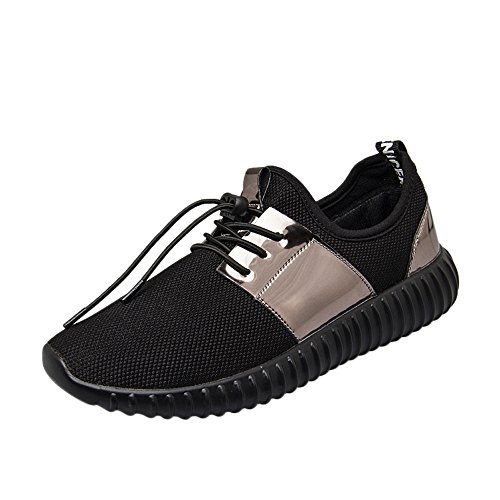 Emimarol Women Sport Shoes Patchwork Patent Leather Mesh Shoes Fashion Casual Beathable Lace-up Sneakers Black