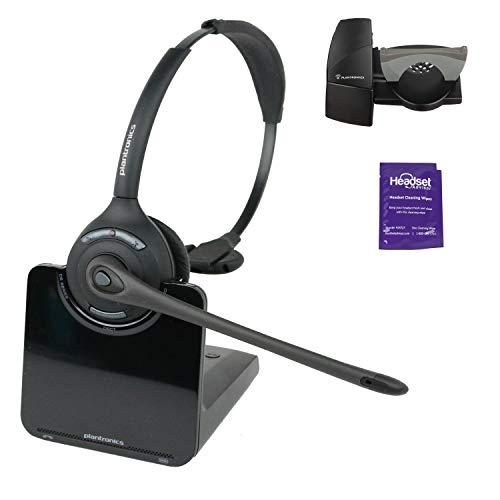 Plantronics CS510 Wireless Headset System Bundle with Lifter and Headset Advisor Wipe (Renewed)