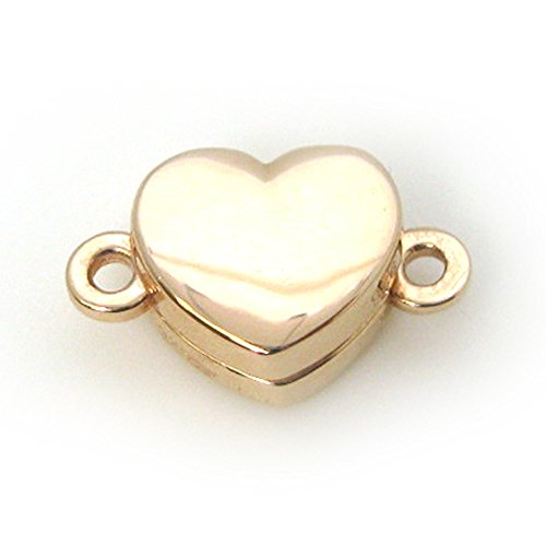 Rose Gold Plated Sterling Silver Smooth Shiny Heart Clasp - Magnetic Clasp Toggle Set (Sold per 1 set) (Rose Gold Plated)