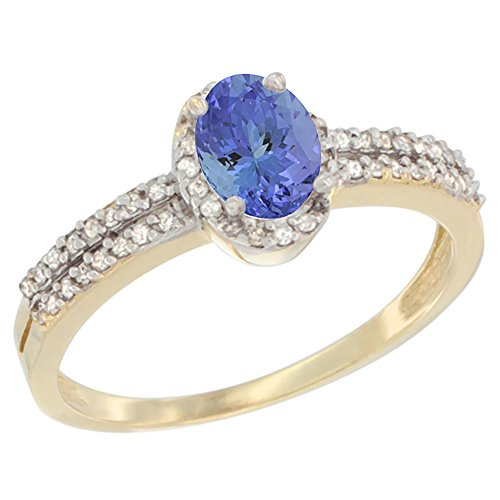 14K Yellow Gold Natural Tanzanite Ring Oval 6x4mm Diamond Accent, size 10 ()