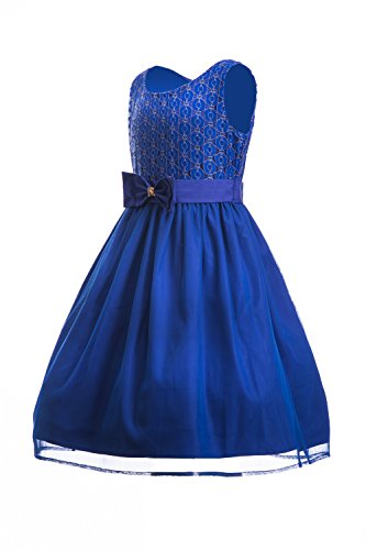 Emma-Riley-Girls-Sleeveless-Lace-Bodice-with-Mesh-Pleated-Skirt-Princess-Party-Dress