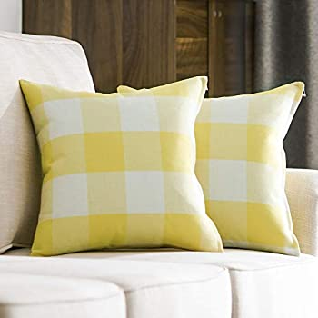 MIULEE Pack of 2 Decorative Classic Retro Checkers Plaids Throw Pillow Covers Cotton Linen Soft Soild Pillow Case Yellow Cushion Case for Sofa Bedroom Car 18 x 18 Inch 45 x 45 cm