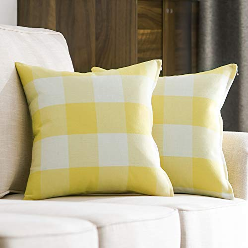 MIULEE Pack of 2 Decorative Classic Retro Checkers Plaids Throw Pillow Covers Cotton Linen Soft Soild Pillow Case Yellow Cushion Case for Sofa Bedroom Car 20x 20 Inch 50 x 50 cm