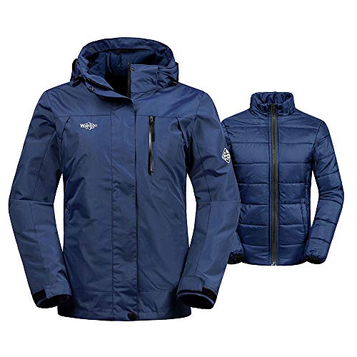 Wantdo Women's Windproof 3-in-1 Ski Jacket Waterproof Windbreaker with Removable Puffer Liner Winter Coat for Snowboarding(Navy, X-Large)