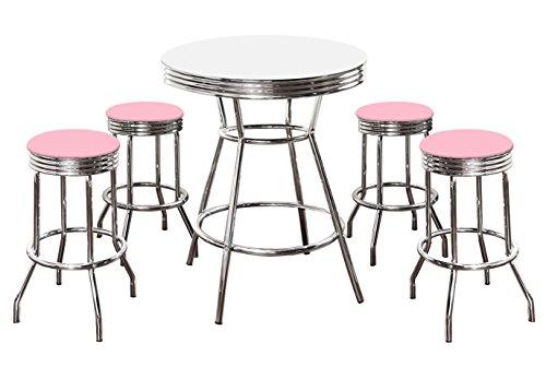 Retro 50's Soda Fountain Style 5-Piece White Bar/Pub Table Set with 4-29