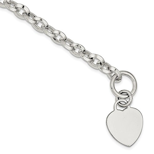 925 Sterling Silver Engraveable Heart Disc On Link Toggle Bracelet 7.75 Inch Charm W/charm/love Fine Jewelry Gifts For Women For Her Diamond Girl Graduate Charm