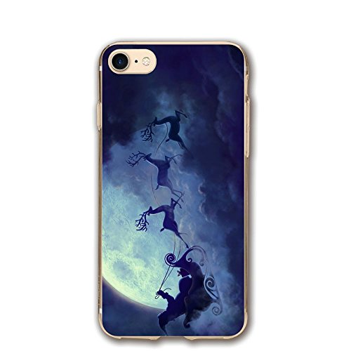Santa Sled Moon Christmas Classic Shell Full Protective Back Case Cover For Apple IPhone (Sled Shell)