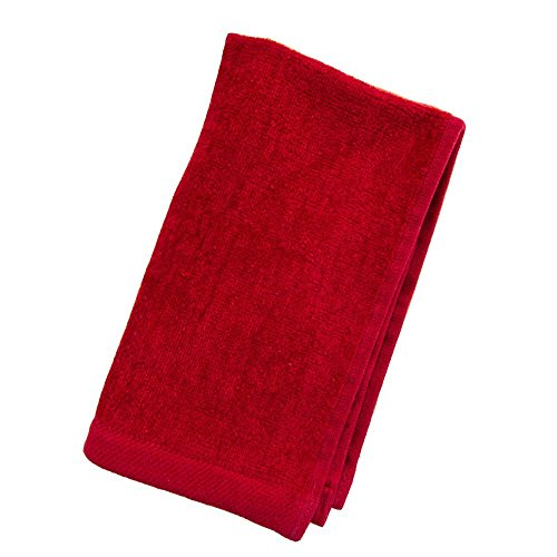 Great Value Towels, Red Color Hemmed Fingertip Velour Towel 11in x 18in, 100% Cotton