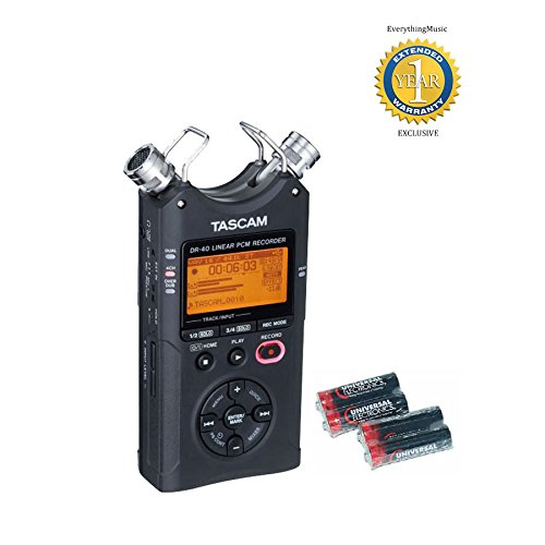 Tascam DR-40 V2 Version 2 Linear PCM Recorder 96kHz/24-bit with 4 Free Universal Electronics AA Batteries and 1 Year Free Extended Warranty by Tascam