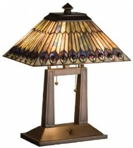 Meyda Home Indoor Bedroom Decorative 20 H Tiffany Jeweled Peacock Oblong Desk Lamp