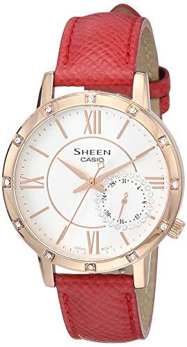 Casio Sheen Analog White Dial Women #39;s Watch   SHE 3046GLP 7BUDR SX179