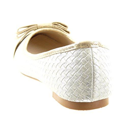 Sopily - Scarpe da Moda ballerina alla caviglia donna nodo d'oro Tacco a blocco 1 CM - soletta sintetico - Bianco