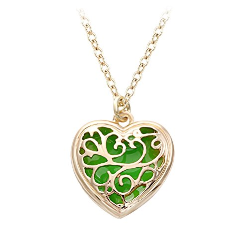 SENFAI 10K Gold Plated Magic Heart Charm Pendant Necklace (Green) ()