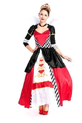 Simmia Halloween Costumes Halloween Costume red Heart Queen Dress Aristocrat Queen Snow White, as Shown, -