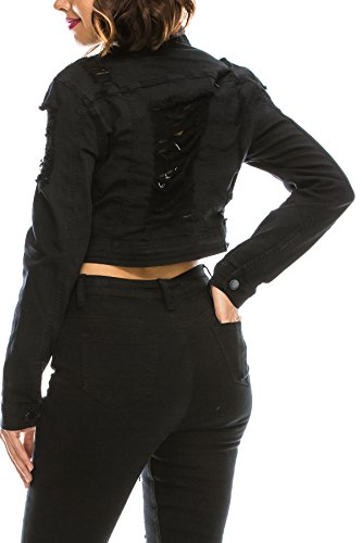 TwiinSisters Women's Basic Classic Casual Destroyed Button Down Denim Jacket - Size Small to 3X (Large, Black #Rjk884)