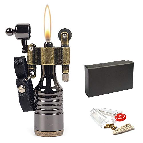 (Metal Mini Portable Pocket Flint Wheel Oil Petrol Cigarette Lighter with 7 Flints and 1 Wick)