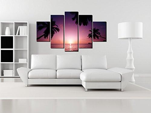 5 Piece Purple Seascape Beach Sunset Canvas Print Wall Canvas Art Coconut  Tree Oil Painting For Living Room Decor No Frame Size:20x30cm x2,20x50cm x2  ...