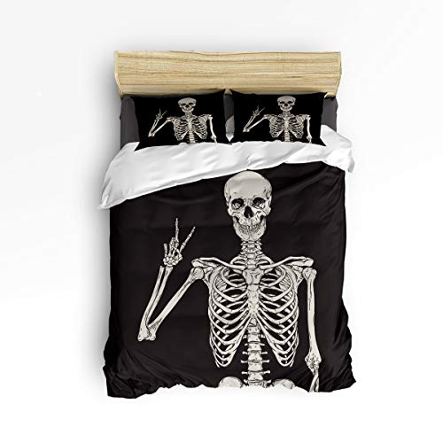 Bilagawa 4 Piece Luxury Duvet Cover Set Include 1 Comforter Cover 1 Bed Sheets 2 Pillow Cases,Skull Human Skeleton Black Pattern Bed Sheet Set Bedding Sets,Twin Size