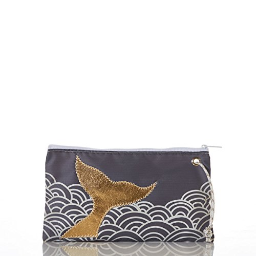 Sea Bags Recycled Sail Cloth Gold Mermaid Tail and Waves Wristlet Large made in Maine