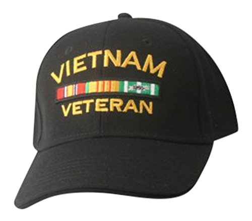 Vietnam Veteran Hat- Embroidered Black Vietnam Veteran Cap