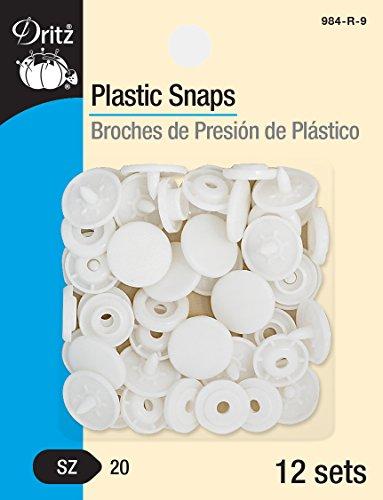 (Dritz 984-R-9 Plastic Snaps, Round, White, Size 20 12-Count)