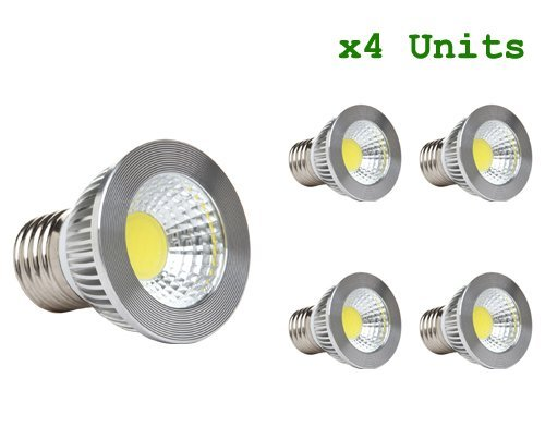 CTKcom 5W LED COB Flood Bulb(4 Pack)- LED Spotlight Bulb Downlight Lamp Flood 60 Degree,6000K Daylight White,50W halogen bulb Equivalent Flood Light Bulbs 110V~130V E26/E27 Base