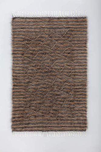 Grey and Camel Stripes - Mohair Kilim Rug FREE SHIPPING