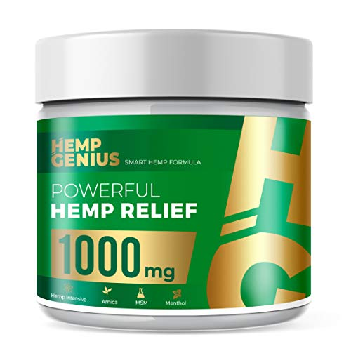 (GENIUS Hemp Relief 1000mg Cream The Smart Hemp Pain Relief Cream Therapy for Arthritis, Back, Knee, Hands, Neck, Feet, Muscle Soreness, Inflammation, Joints, Arnica- 2oz)