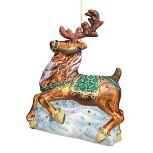(Reed & Barton Blown Glass Ornament Nordic Reindeer Christmas Ornament)