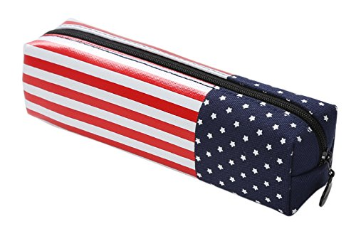 1 Belt 3 Flags (FLY SPRAY Pencil Pouch US Flag PU Leather Canvas Creative Durable Pencil Case Pen Storage Cosmetic Organizer School Students Stationary Bag for Teen Girls Boys)