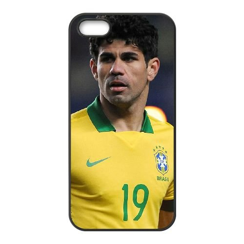 Diego Costa 001 coque iPhone 5 5S cellulaire cas coque de téléphone cas téléphone cellulaire noir couvercle EOKXLLNCD23238