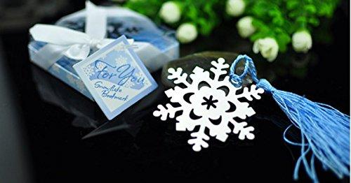 "Doboa ""Snowflake"" Bookmark with Silver Finish and Elegant Ice-Blue Tassel"