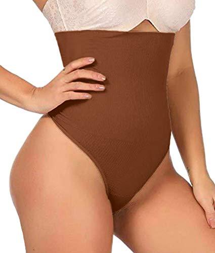 ShaperQueen 102 Best Womens Waist Cincher Body Shaper Trimmer Trainer Slimmer Girdle Faja Bodysuit Short Tummy Belly Weighloss Control Brief Corset Plus Size Underwear Shapewear Thong (S, Tan (Dark)
