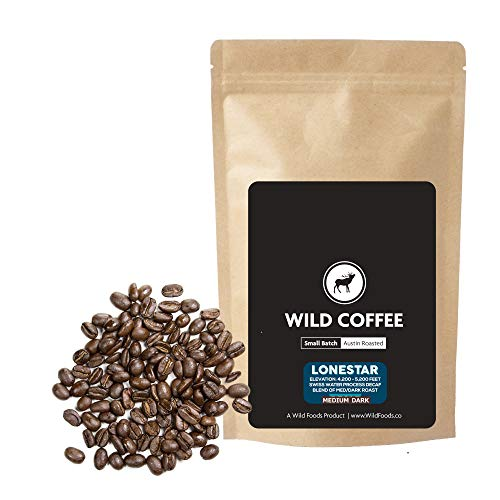 Wild Coffee, Whole Bean Naturally Grown Coffee, Fair Trade, Single-Origin, 100% Arabica, Austin Fresh Roasted (Lonestar Decaf, 12 ounce)