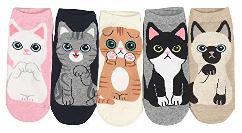 Customonaco Women's Cool Animal Fun Crazy Socks (Cats Sneakers 5 Pairs)