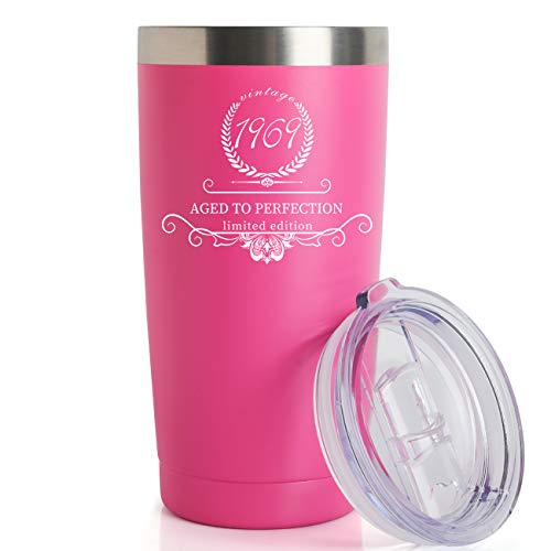 1969 50th Birthday Gifts for Women and Men Tumbler, Party 50th birthday decorations, Best Anniversary Presents Ideas Him Her Husband Wife Mom Dad, 20oz Stainless Steel Tumbler (Pink, 1969)