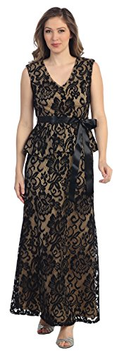 Belle Maids All Lace Long Formal Gown 8790S-GOLD-3X