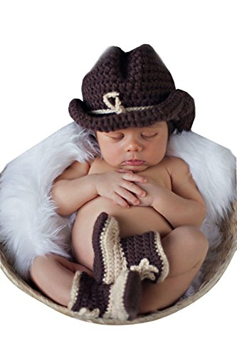 Clothes Boots Western (CX-Queen Baby Photography Prop Handmade Crochet Knit Cowboy Hat boots Outfit)