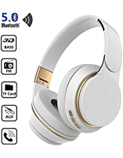 Headphones with Mic, TechCode Foldable Bluetooth 5.0 Earphone with Mic Noise Cancelling Over Ear Stereo Headphone, Soft Protein Earpads,Wired Mode/TF Card Play/FM Headset for iPhones Galaxy(White)