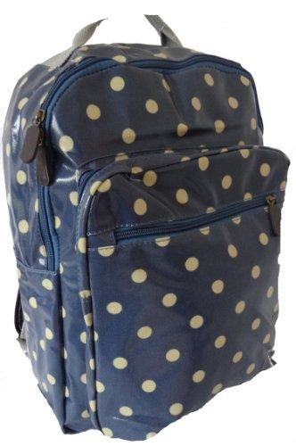 Gossip Girl - Oilcloth PVC Rucksack Backpack Bag Polka Dot (Original Polka Dot - Denim Blue)