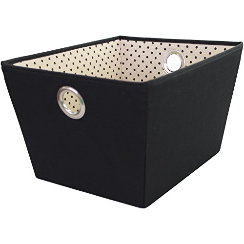 Tapered Storage - Storage Basket, Durable Open Tapered Polyester Canvas Storage Bin with Built-in Handles, Black, Dot Print, Large