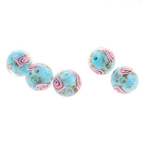 Jili Online 5 pcs Multicolor Lampwork Round Glass Beads 12X17mm - Lake Blue, 12mm