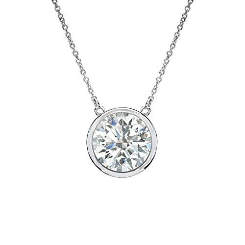 (14k White Gold Round Diamond Solitaire Bezel Set Pendant (3/5 cttw, J-K, I1-I2))